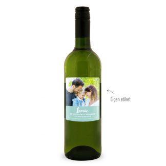 Foto op fles wijn.