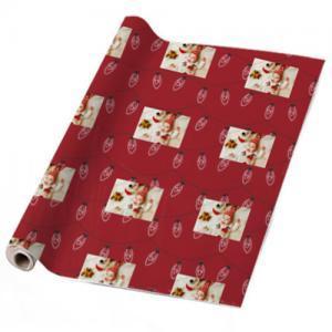 """Gepersonaliseerd cadeaupapier met """"rood licht"""" kerstontwerp Inpakpapier bedrukken met eigen ontwerp"""