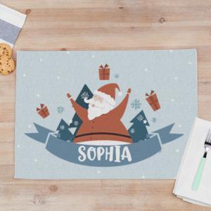 """Kerst Placemats met Foto en Naam bedrukken """"Santa"""" van stof 50 x 35 cm"""