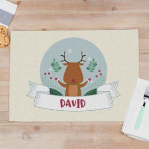 """Kerst Placemats met Foto en Naam bedrukken """"rendier"""" van stof 50 x 35 cm"""