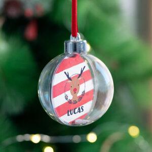 Kerstbal met naam of foto bedrukken 8ø cm transparant plastic Verwisselbare foto's.