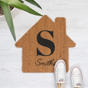 Kokos deurmat met huisvorm bedrukken Gepersonaliseerde kokos deurmat in huisvorm