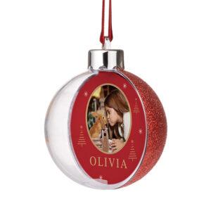 Ronde kerstbal met foto bedrukken en glitter 8ø cm transparant plastic Verwisselbare foto's.